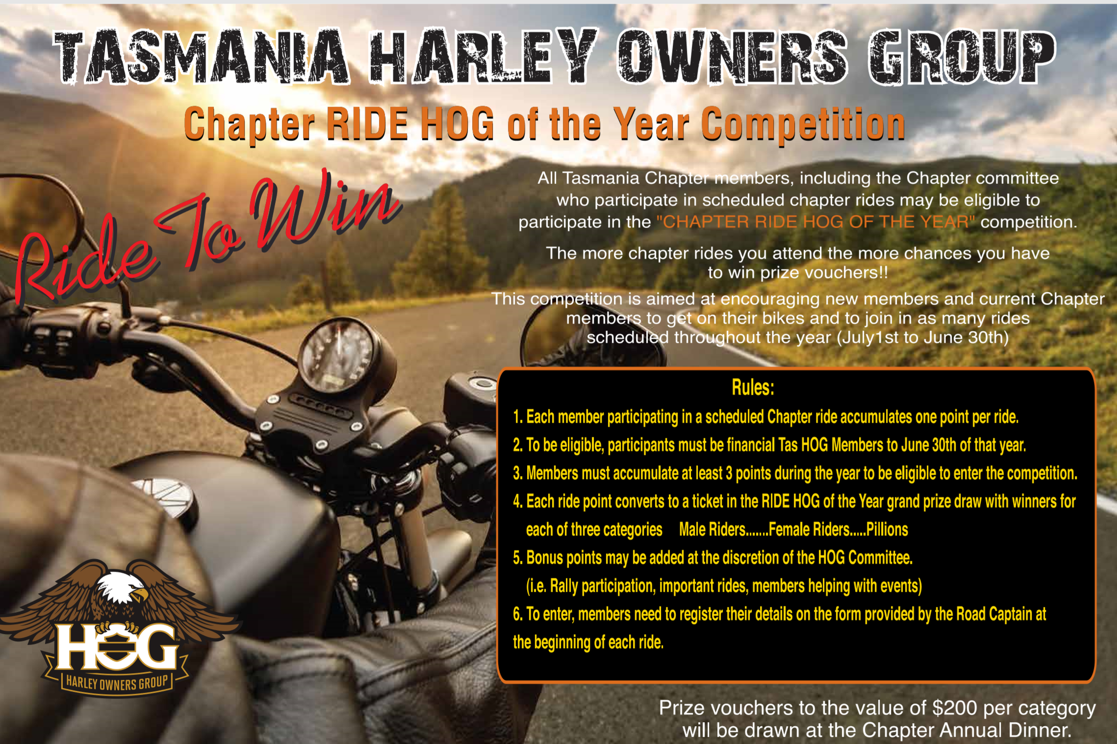 And so the new Ride to Win Competition has begun. Get on your bikes and earn your points for 2019/20. Winners for last year's comp were announced at the Annual Dinner in July. Congratulations to our winners who each received a special Ride Hog of the Year Mug and RHD Coin Vouchers to the value of $200. Male Ride Hog - Andrew Pearce Female Ride Hog - Julie Fleming Pillion Ride Hog - Annette Campbell