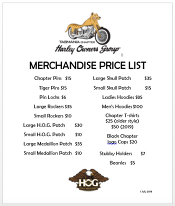 Here is the current list of Chapter Merchandise. Prices are correct at October 31st 2019.